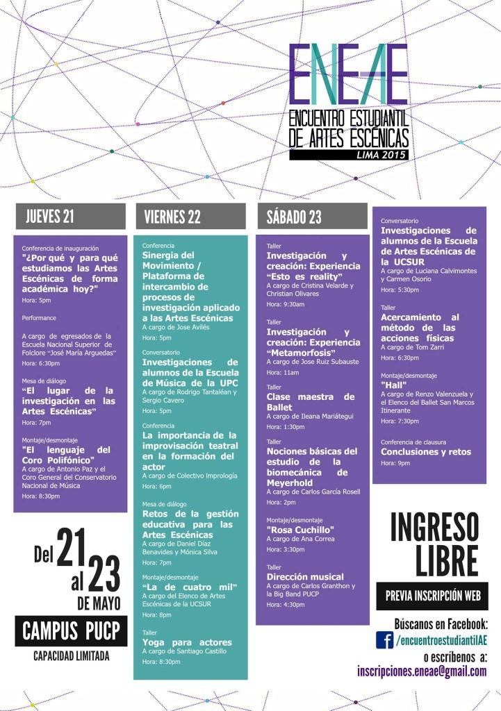 Programación del 1er Encuentro Estudiantil de Artes Escénicas.